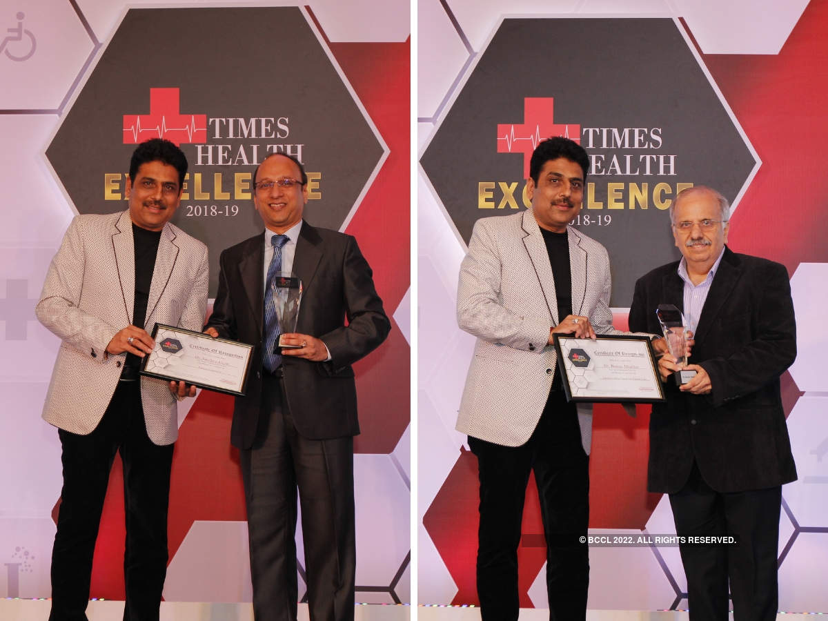 Shailesh Lodha presented The Times Health Excellence In Service in-patient centricity to Dr Sandeep Goyle, and a Lifetime Achievement award to Dr Boman Dhabhar, Cancer Care.
