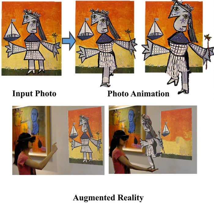 Given a single photo as input (far left top), the team created a 3D animatable version of the subject, which can now walk towards the viewer (top centre & right). The 3D result can be experienced in augmented reality (bottom)