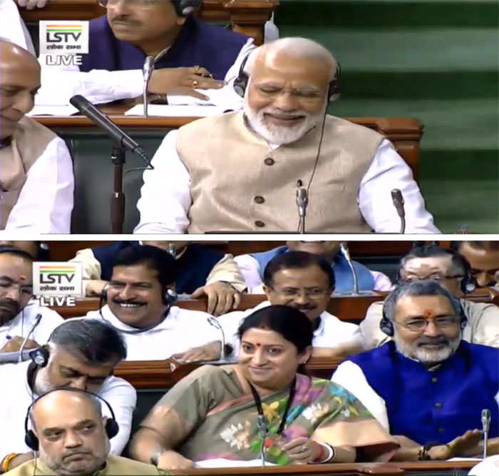 Narendra Modi (top) and SMriti Irani (centre bottom) applauded for the FM as she suggested ways to encourage and facilitate women participation. 