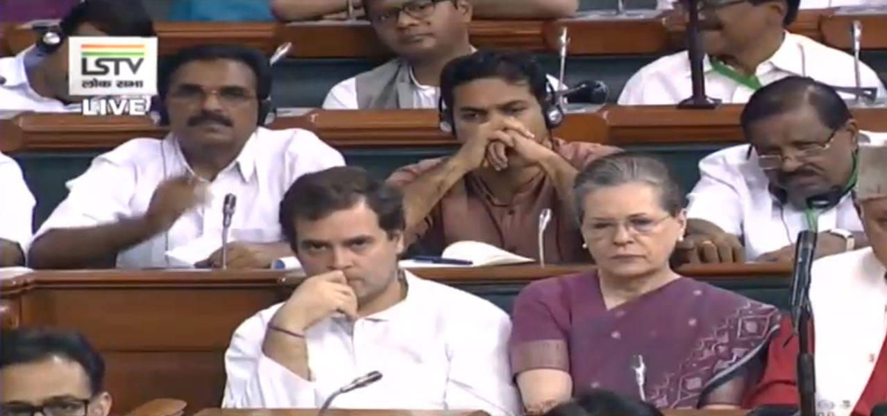 Rahul (L) and Sonia Gandhi (R) from the opposition party were seen keenly listening to Sitharaman's Budget speech.