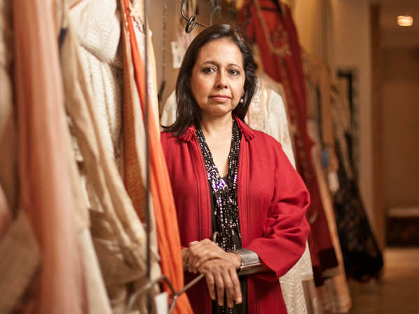 Designer Anju Modi says couture garments must be steam-ironed and hung, never folded and kept for long periods of time.
