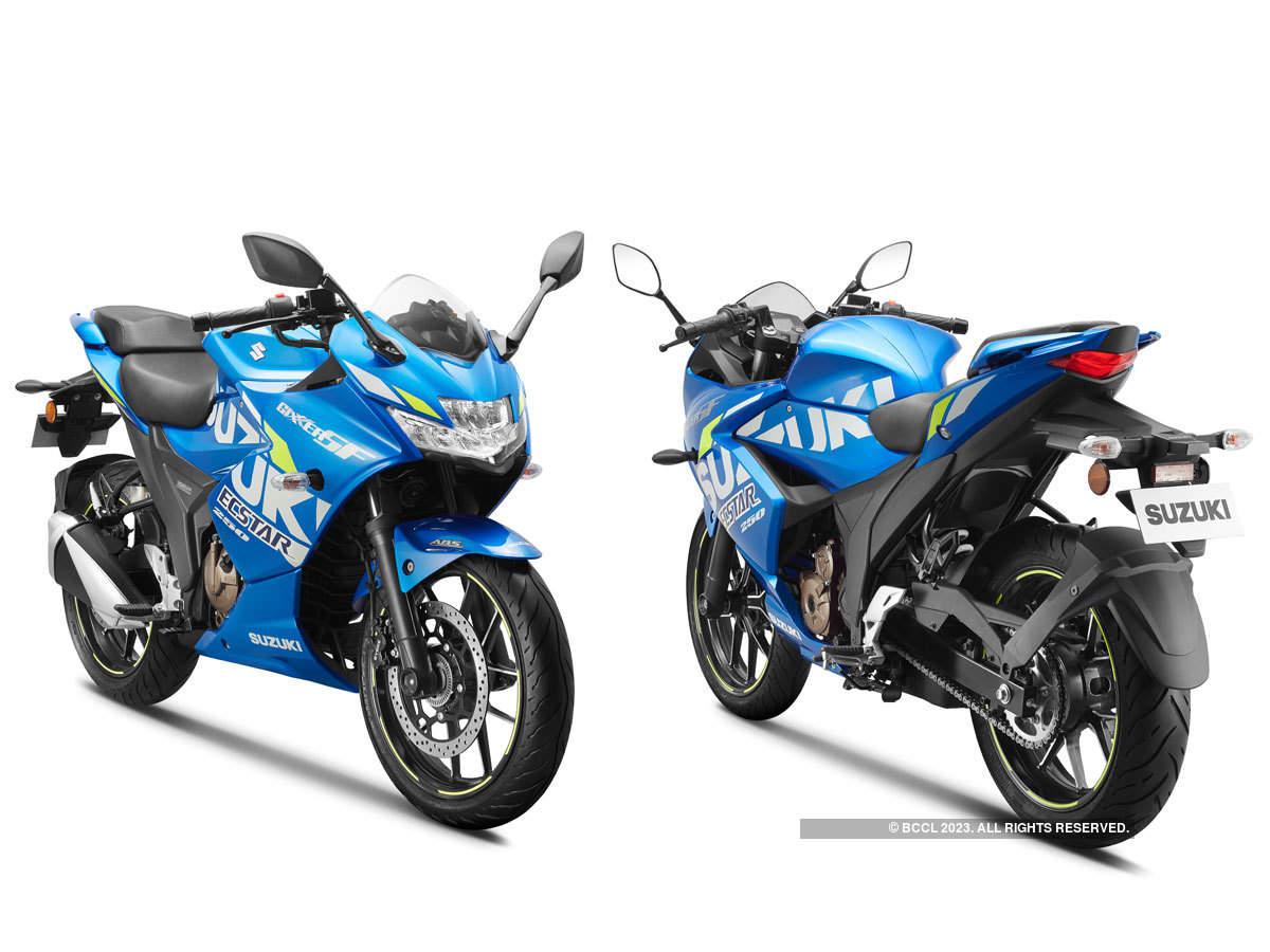 Suzuki's GIXXER SF 250 MotoGP editon's ecstar decals and distinctive wheel pin stripes.