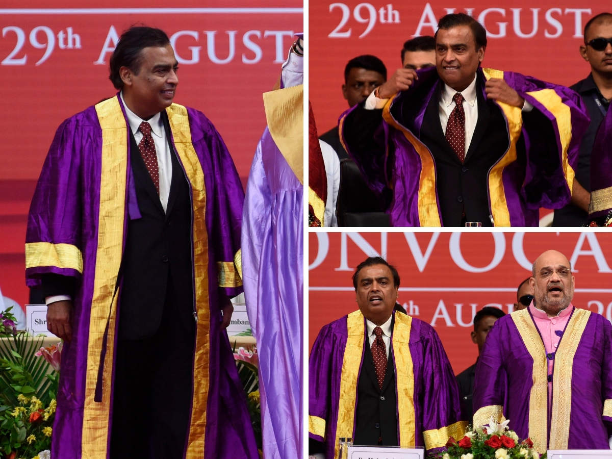 Mukesh Ambani & Amit Shah (second in right bottom pic) was seen wearing a purple-gold graduation robe on his suit.
