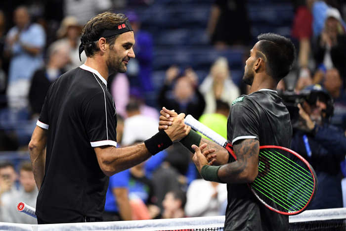 ​Sumit Nagal (R) had a dream Grand Slam debut on August 27 as he played against Roger Federer​ (L).