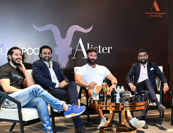 Dino Morea (l) and Dan Bilzerian (2nd r) with LivePools co-founders Gaurav  (2nd l) and Vickram Assomull.