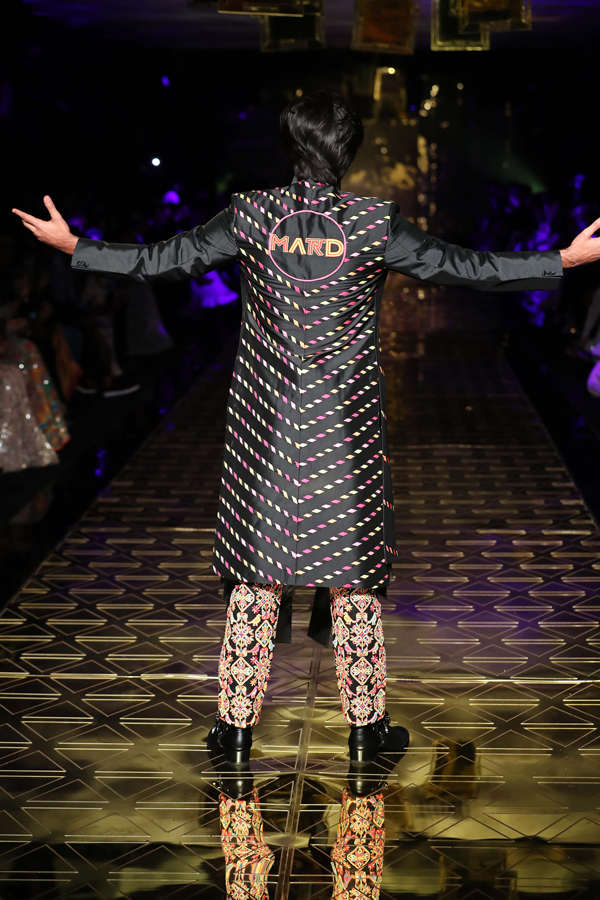 Khosla's favourite item is the embroidered pants and the panelled skirt and panelled top combo that Meezaan Jaffrey wore.