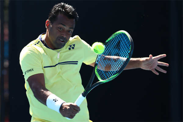 Leander Paes plays during the Mixed Doubles match with Samantha Stosur of Australia against Kveta Peschke and Wesley Koolhof during the 2019 Australian Open at Melbourne Park in January, 2019.