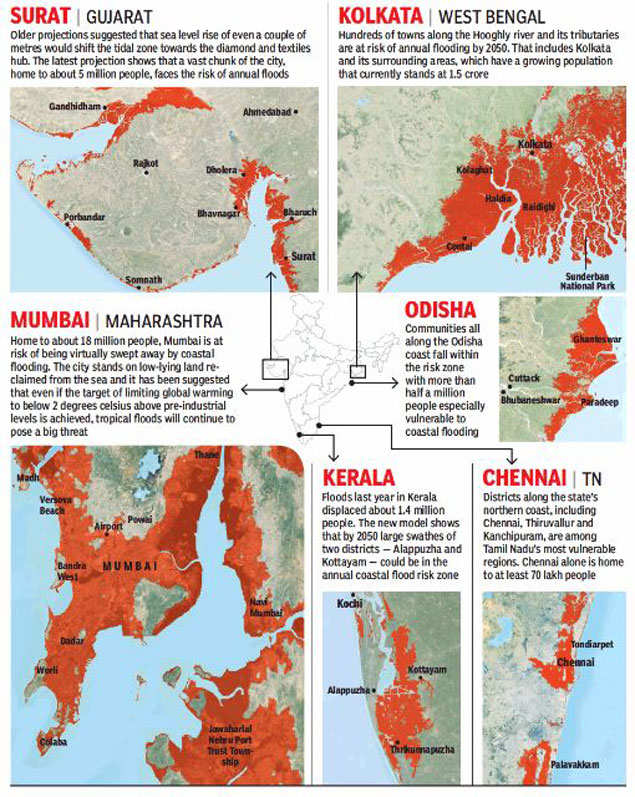 7-fold surge in Indians at risk due to sea level - The ...