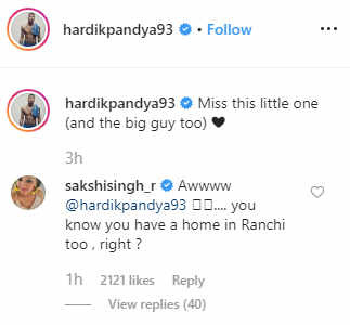Hardik Pandya's post about missing Dhoni and Ziva will win your heart