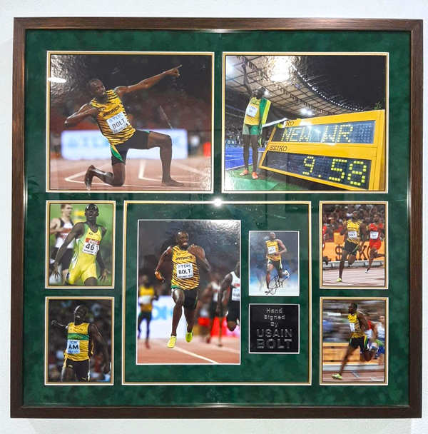 A memorabilia from Goenka's collection signed by Usain Bolt.
