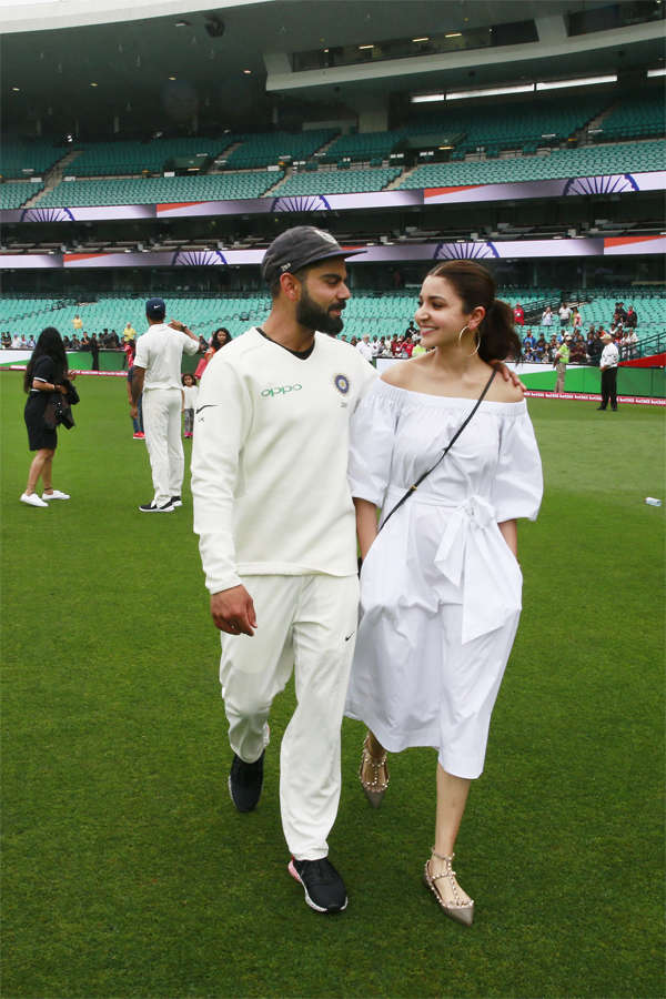 ​Virat Kohli and Anushka Sharma after Team India won the series and the BorderGavaskar Trophy in the series against Australia at Sydney Cricket Ground.
