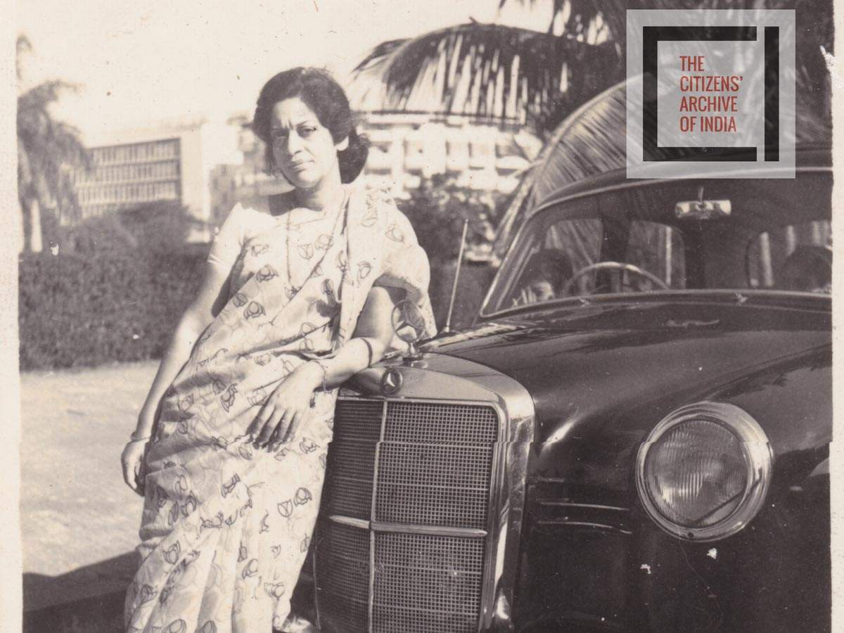 """""""I bought this Mercedes second-hand from a foreigner who was moving away, so I got it really cheap. I used to drive it to work. The policeman at the corner would salute me and stop traffic to let me through. After I sold the car, he never even recognized me!"""" – Suman Desai, Bombay, 1960s"""