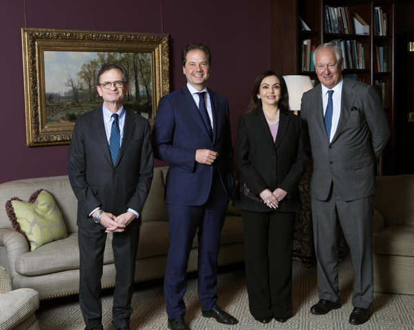 Nita Ambani (2nd ), Founder and Chairperson of Reliance Foundation with the Metropolitan Museum of Art leadership - Daniel Brodsky, Chairman of the Board; Daniel Weiss, President & CEO; and Max Hollein, Director, on the occasion of her election to the board of trustees.