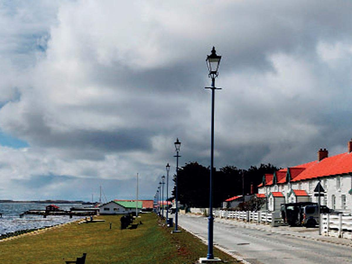 By the bay: View of Port Stanley's downtown, Falkland Islands. Its calm and scenic here!