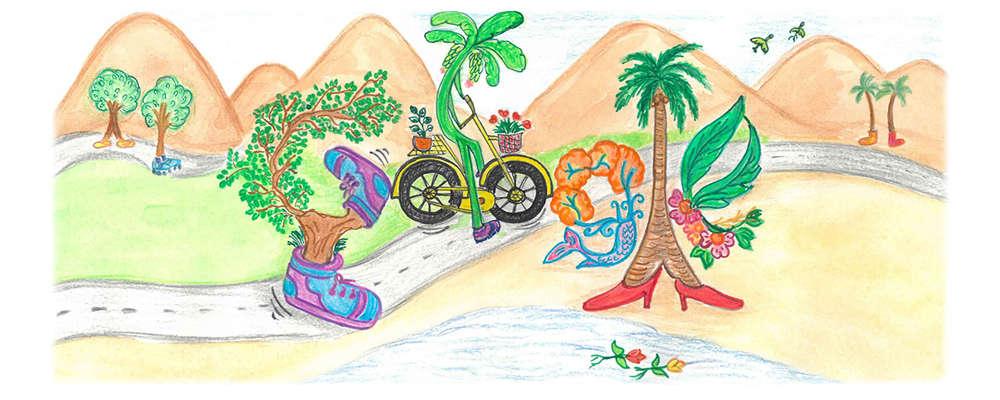 "Divyanshi's Doodle titled ""The Walking Tree"""