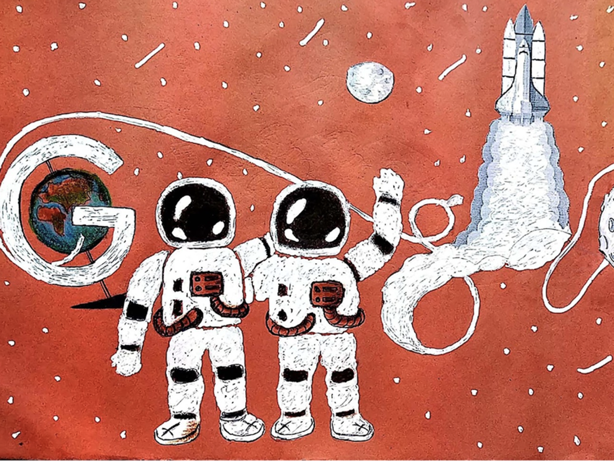 Bhaswati Bishoi's Doodle titled 'From moon to moon!'