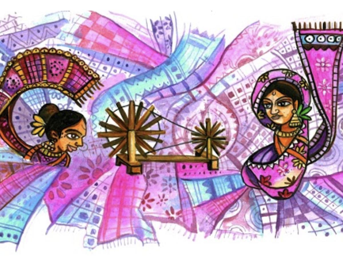 Pyla Vijay Kumar's Doodle titled 'Khadi, an evergreen Indian pride'.