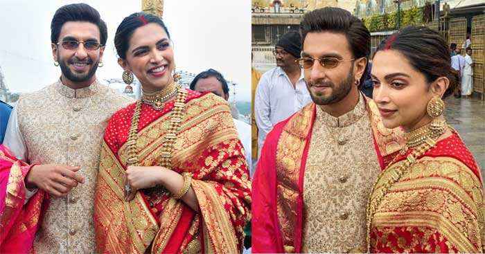 Ranveer Singh and Deepika Padukone were clicked exchanging a good laugh outside the temple premises.