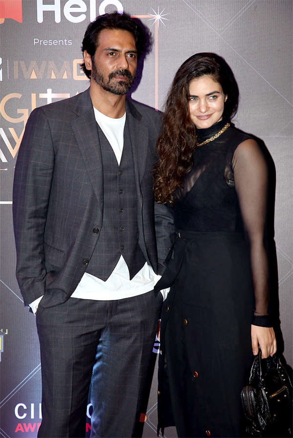 Arjun Rampal and Gabriella Demetriades at the MTV IWMBuzz Digital Awards in Mumbai.