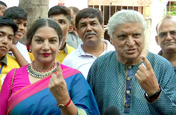 File photo: Shabana Azmi and Javed Akhtar after casting their votes, in Mumbai.