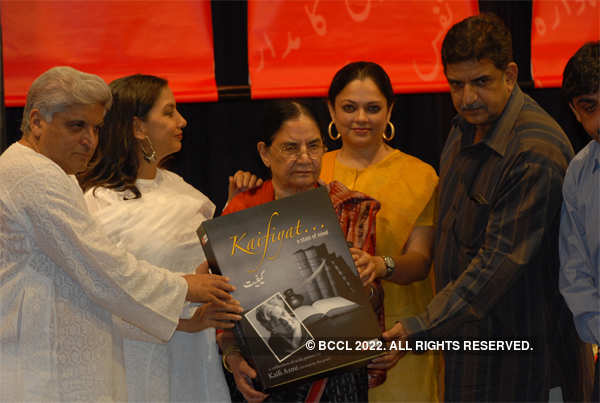 From left: Javed Akhtar,Shabana Azmi, Shaukat Azmi, Tanvi and Baba Azmi at the release of 'Kaifiyat'. To mark the sixth death anniversary of veteran lyricist, poet and writer Kaifi Azmi, an audio CD - titled 'Kaifiyat' - on some of the best works of the poet in Urdu, recited by the poet himself, was re-released on May 10, 2008.