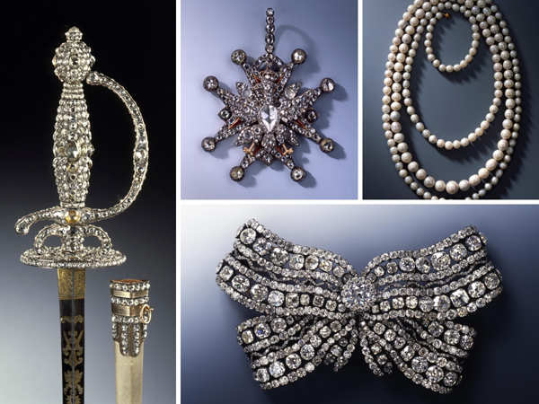 Clockwise from left: A epee of the Diamond Rose set, a jewel of the Polish White Eagle Order, a chain of 177 Saxon pearls, and a big breast bow were among the jewels stolen.