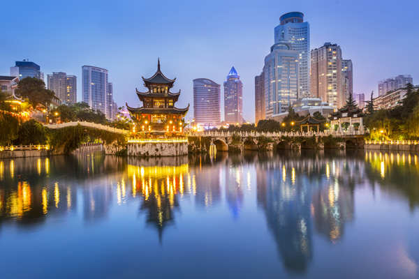 If you are looking for vegetarian food, it is advisable to scout for Indian restaurants in the vicinity of the hotel and across popular tourist locations for lunch and dinner meals. ​(Image: Cityscape of Guiyang at night​)