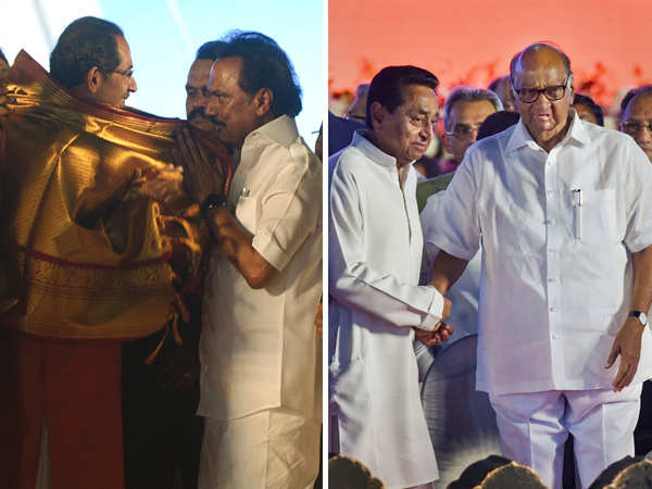 ​Uddhav Thackeray meets DMK president MK Stalin at the swearing-in ceremony (L); Madhya Pradesh Chief Minister Kamal Nath greets Nationalist Congress Party chief Sharad Pawar.
