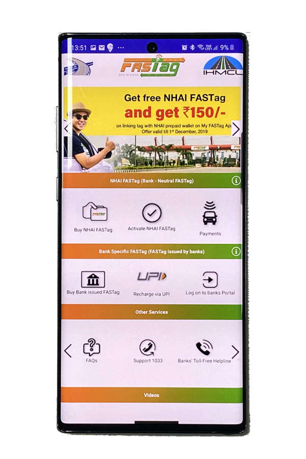 The app lets motorists buy FASTtags online, find offline sale locations, recharge the stickers and make payments.
