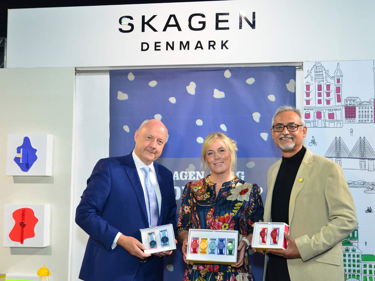 Skagen enjoys a formidable presence across the top nine metro cities that includes malls and standalone outlets where its main customer base remains. In pic from left: Freddy Svane, Anita Vogel, Johnson Verghese