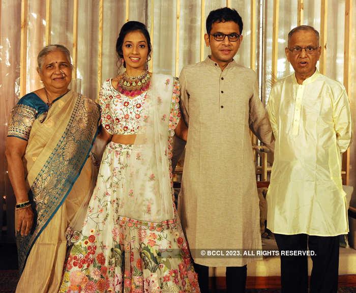 Narayana Murthy and Sudha Murty with the newlyweds.