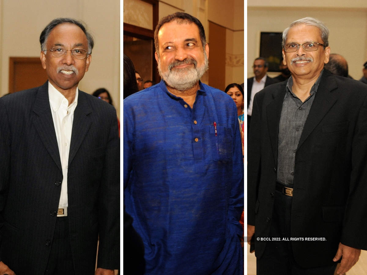 Infosys squad - Shibulal​, TV Mohandas Pai​ and 'Kris' Gopalakrishnan​ - add star power to the wedding ceremony.