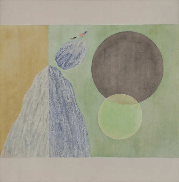 Jagdish Swaminathan's Untitled (estimate: Rs 1 - 1.5 crores) from the 1970s represents his famous 'Bird, Mountain, Tree' series.