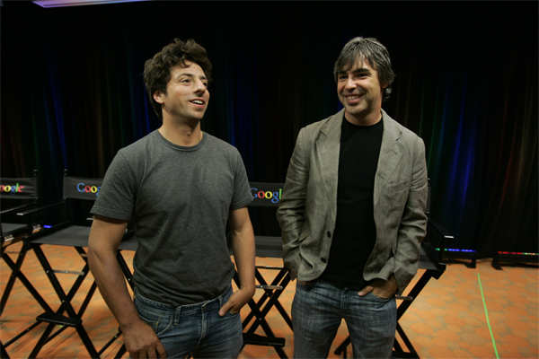 Sept. 2, 2008 file photo: Sergey Brin, left, and Larry Page talk about the new Google Browser, 'Chrome,' during a news conference at the Google Inc. headquarters in Mountain View, California.​