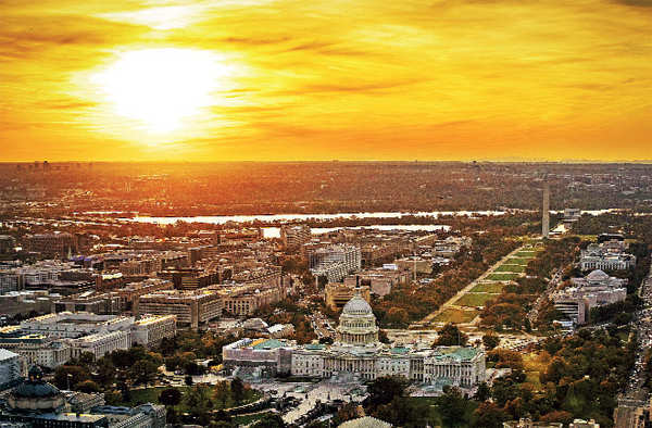 ​The US Capitol looks amazing by the dusk hour (photograph taken aerially) in Washington, DC​.