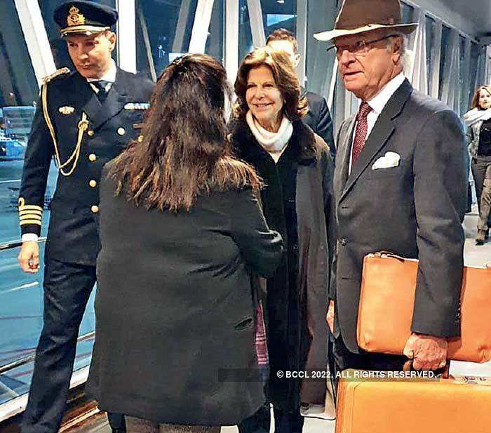 Sweden's king Carl XVI Gustaf and queen Silvia on arrival at IGI airport