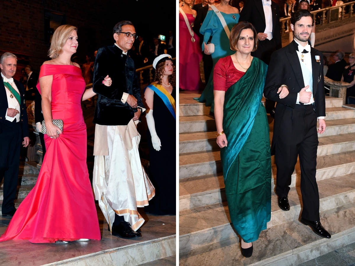 Before the award ceremony began, Banerjee arrived to the Nobel banquet with Swedish finance minister Magdalena Andersson, and Duflo walked in with Prince Carl Philip of Sweden.