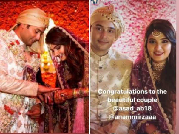 The couple exchanged rings at the ceremony, and posed for their family and friends