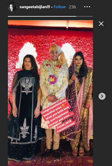 Sangeeta Bijlani posted her picture with the newlyweds on her Instagram Stories.