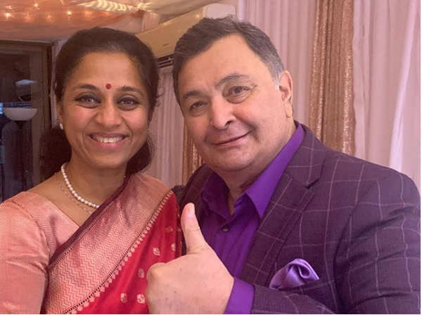 "​Supriya Sule posted a picture with Rishi Kapoor on Instagram, alongside the caption, ""Thank You - Rishi Kapoor!​"""