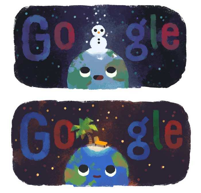 Google Doodle's ​Winter 2019 (Northern Hemisphere) Vs Summer 2019 (Southern Hemisphere)​