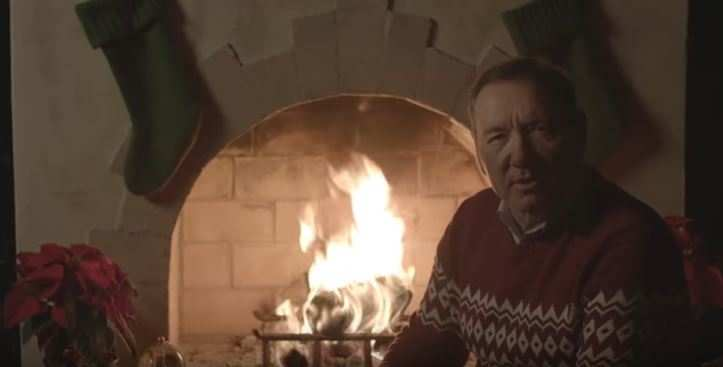 Spacey began on a light-hearted note, addressing the camera while sitting by a fireplace.