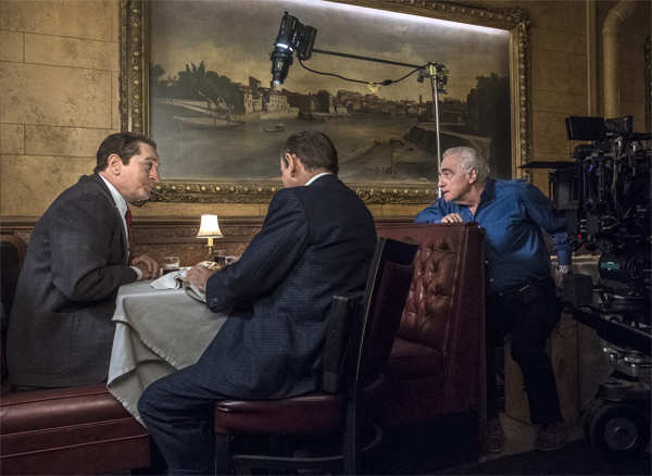 Martin Scorsese, right, with actors Robert De Niro, left, and Joe Pesci on the set of 'The Irishman'.