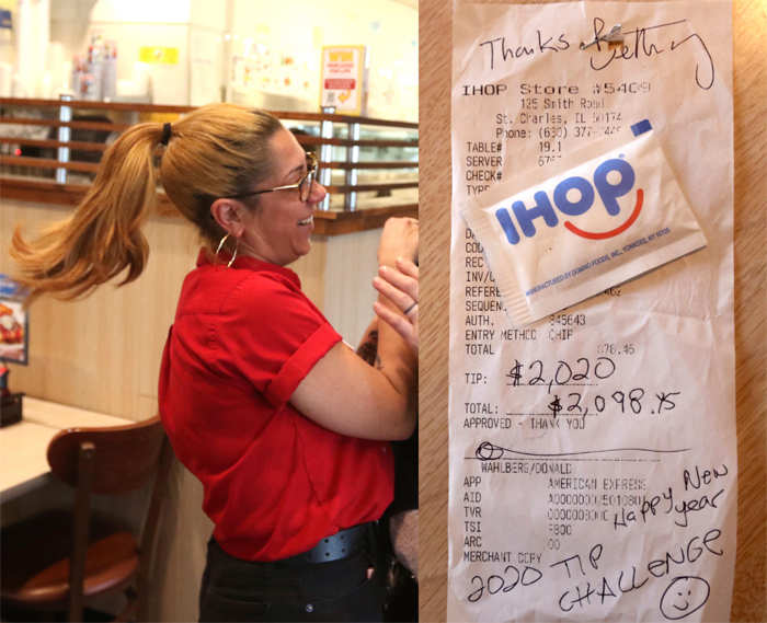 ​IHOP waitress Bethany Provencher (in pic) received a $2,020 tip from Donnie Wahlberg after he and his family dined in St Charles, Illinois on New Year's Day.​