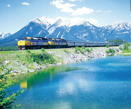 POSTCARD-PERFECT PICTURE: Enjoy a picturesque glimpse of the Canadian Rockies on a train ride.