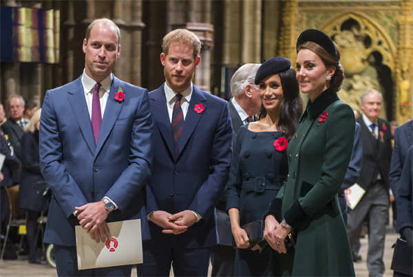Prince William, Harry, Meghan, and Catherine, Duchess of Cambridge, at a service marking the centenary of WW1 armistice at Westminster Abbey on November 11, 2018 in London, England.