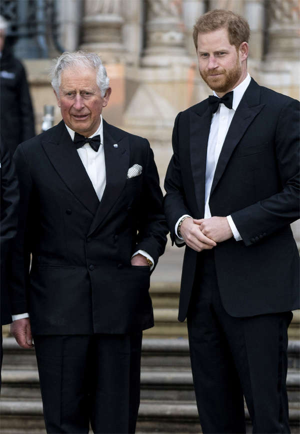 Britain's Prince Charles, Prince of Wales and Prince Harry, Duke of Sussex, at the global premiere of 'Our Planet' in London, in April 2019.