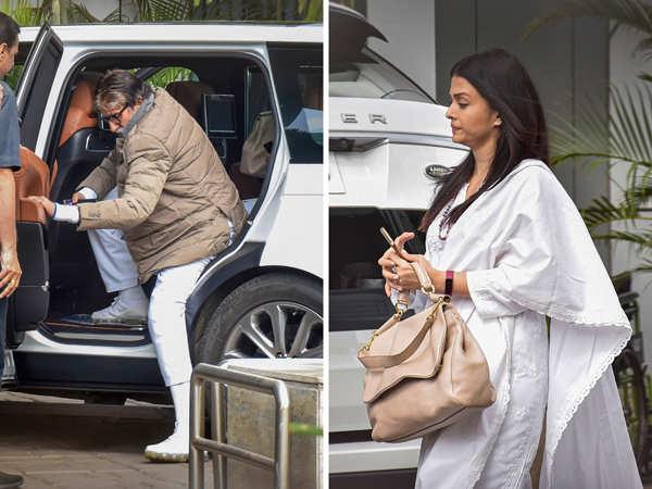 Amitabh Bachchan and Aishwarya Rai Bachchan attend Nanda's funeral.