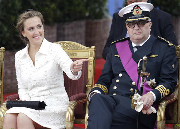 July 21, 2014 file photo: Belgium's Prince Laurent and his wife Claire watch a military parade on Belgian National Day, in front of the Royal Palace in Brussels. 