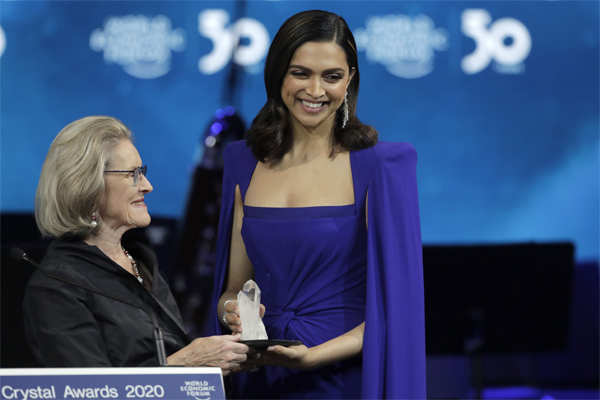​Deepika Padukone accepts a Crystal Award from Hilde Schwab, Chairwoman and Co-Founder of the World Economic Forum's World Arts Forum, during the ceremony for the Crystal Awards at the annual meeting of the World Economic Forum in Davos, Switzerland.​